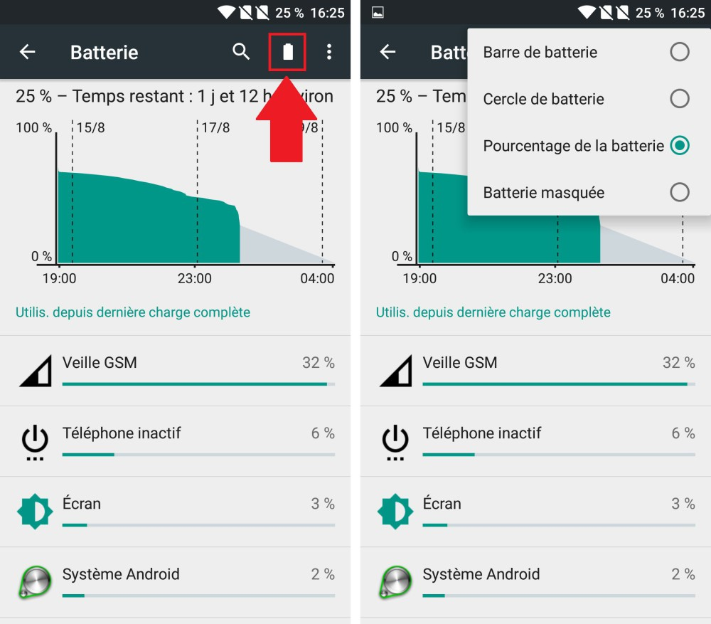 icone batterie oneplus 2