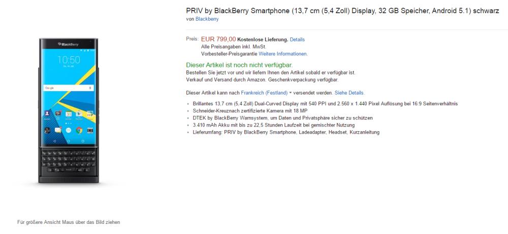 blackberry priv tarif allemagne