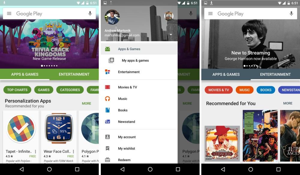 google play store nouvelle version octobre 2015
