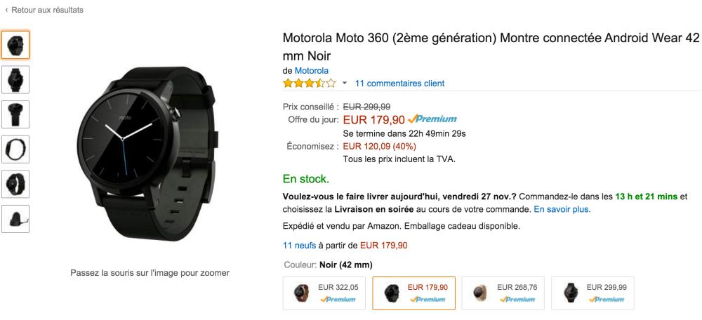 bon plan la motorola moto 360 2 me g n ration 179 euros sur amazon frandroid. Black Bedroom Furniture Sets. Home Design Ideas