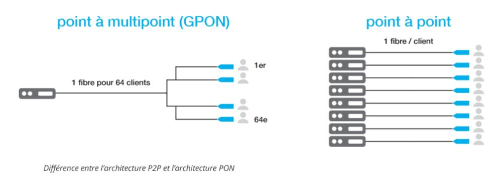 Différence entre l'architecture P2P et l'architecture PON
