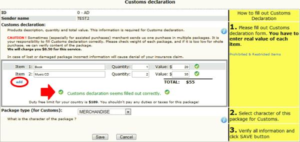exemple de déclaration de douane