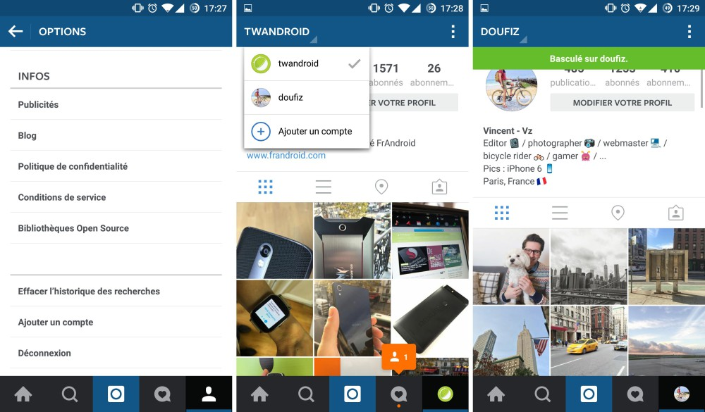 instgram multicompte android beta