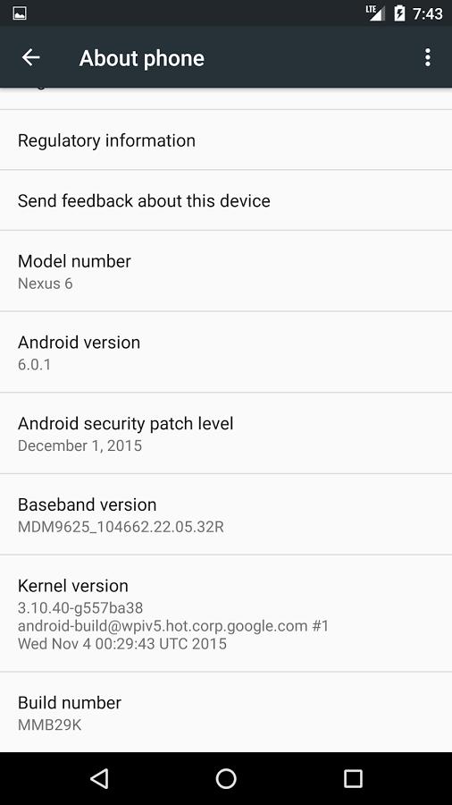 Android 6.0.1 Nexus 6
