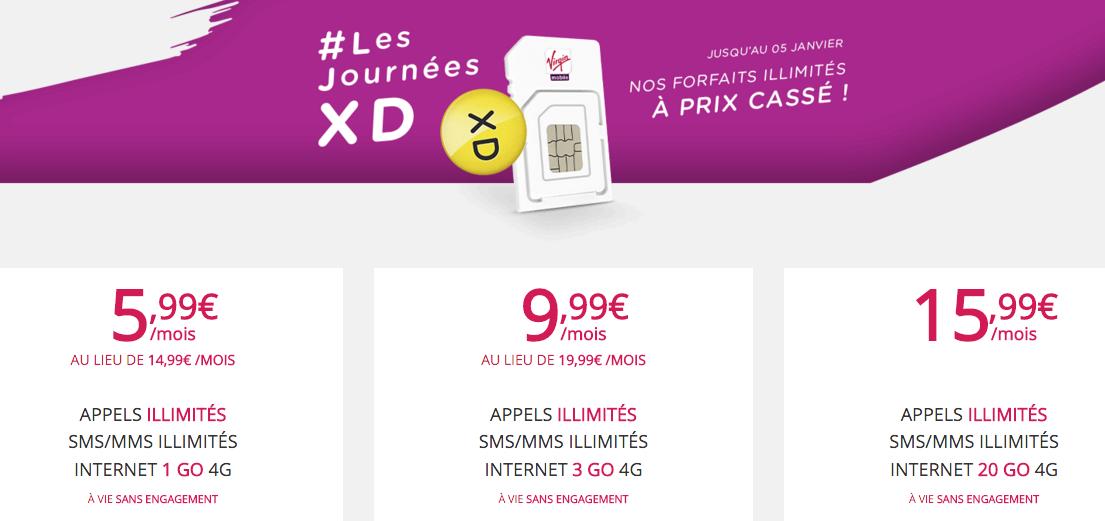 Virgin Mobile : jusqu'au 15 février, le forfait 20 Go est à 15,99 euros par mois à vie