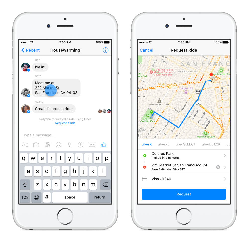 facebook, messenger uber 1