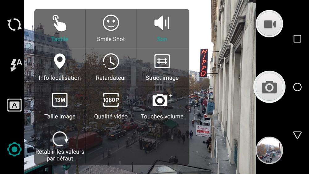 interface appareil photo wiko fever 0