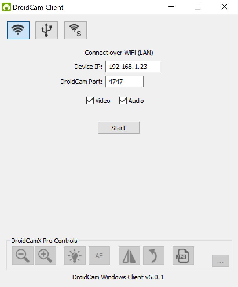 Client DroidCam sur Windows