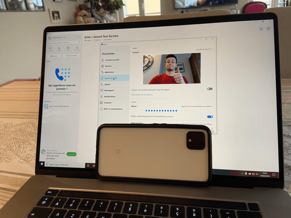 Un Pixel 4 utilisé comme webcam