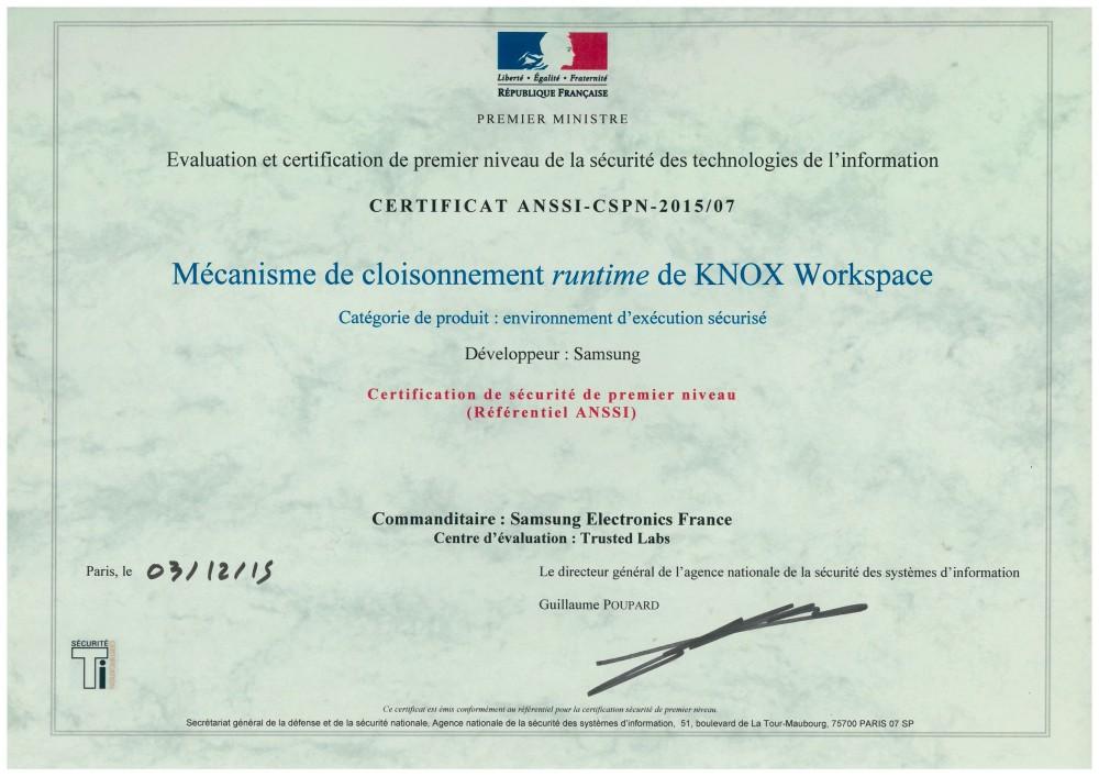 certificat ansii samsung knox