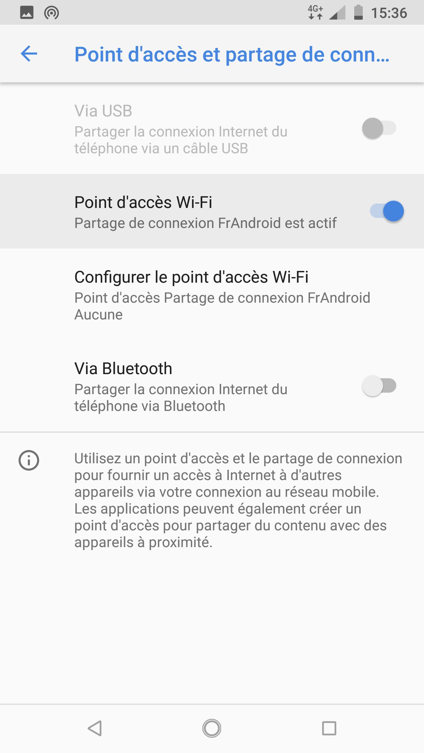 partage de connexion orange android