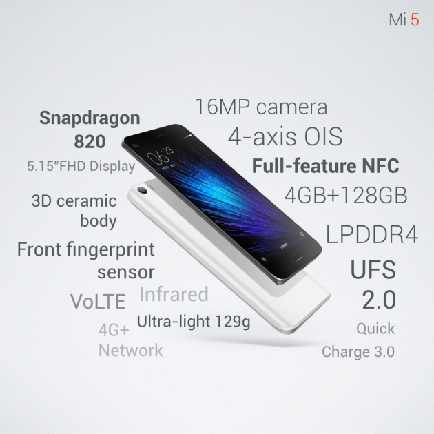 Ca Y Est Le Tant Attendu Xiaomi Mi 5 Arrive Ou Plutot Officialise Au Cours Du MWC 2016 De Barcelone Presque Lintegralite Des Details A Ete Livree