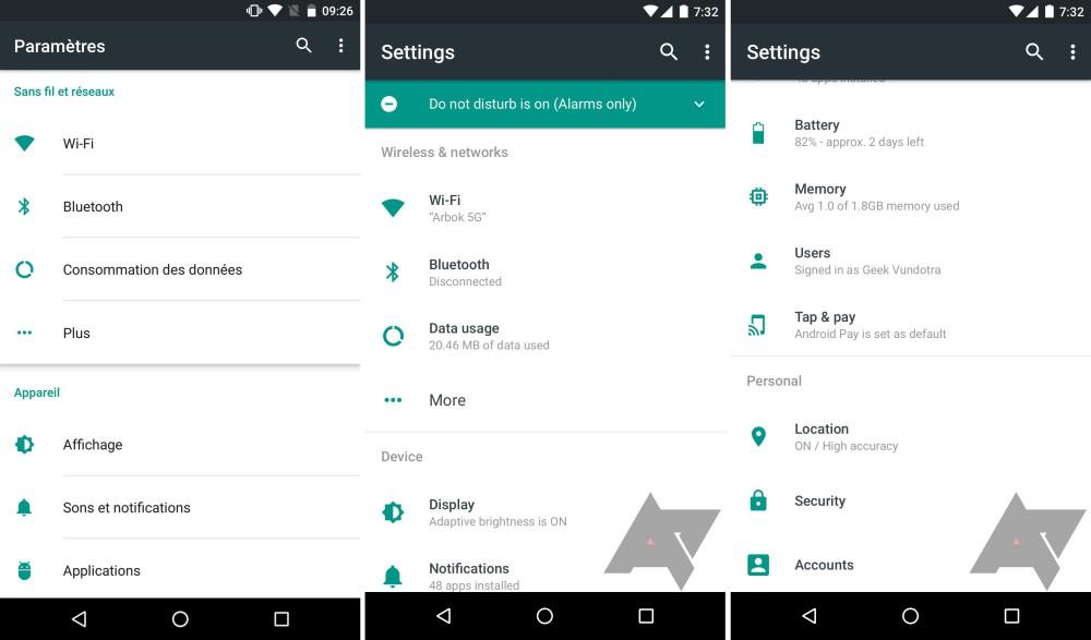 android n menu parametre rumeur 1