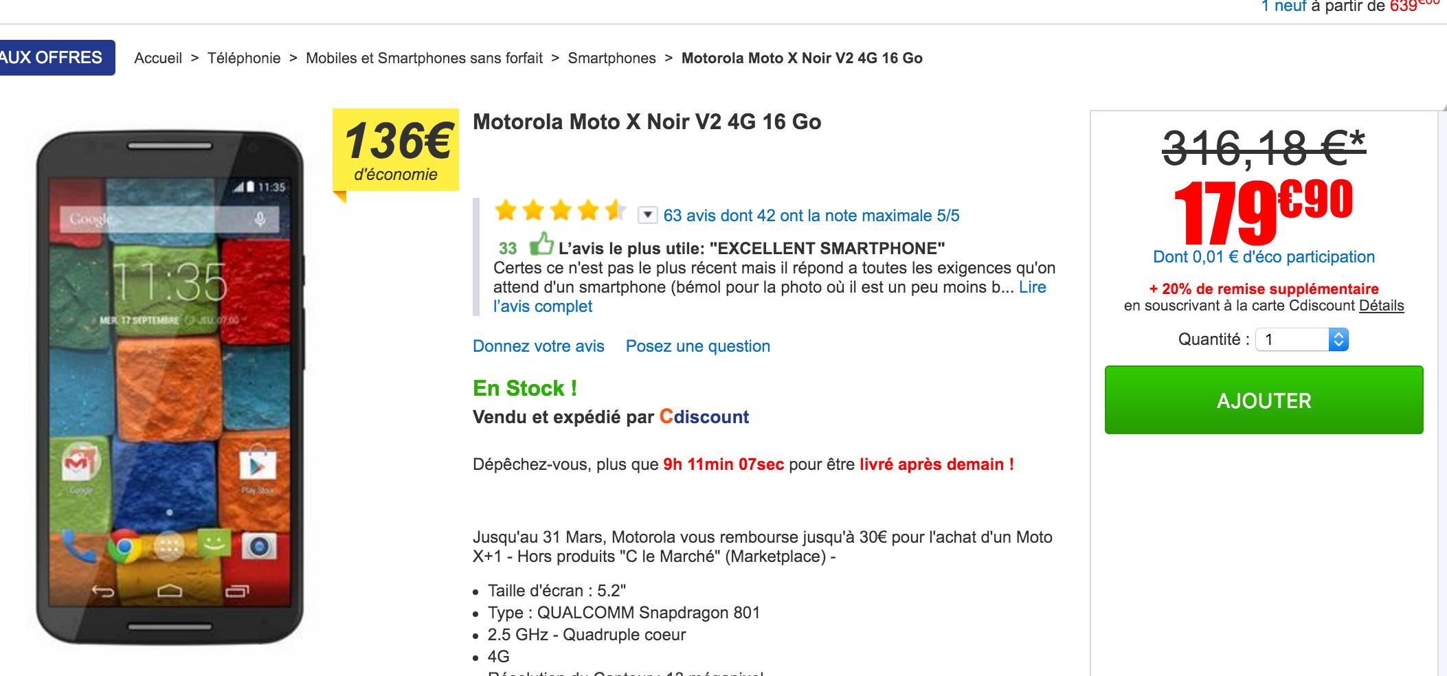 Carte Cdiscount Utile.Mega Bon Plan Le Motorola Moto X 2014 A Seulement 150 Euros