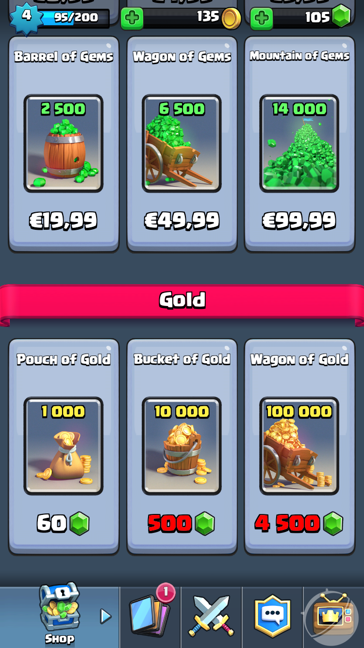 Clash Royale Purchase of parts
