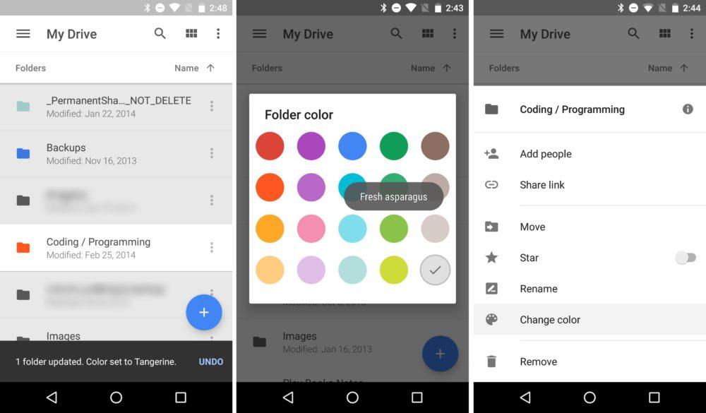 google drive couleur dossier