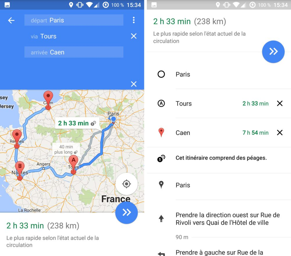google maps mobile multiitinéraire 2