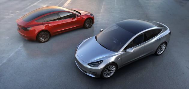 Tesla Model 3 rouge gris