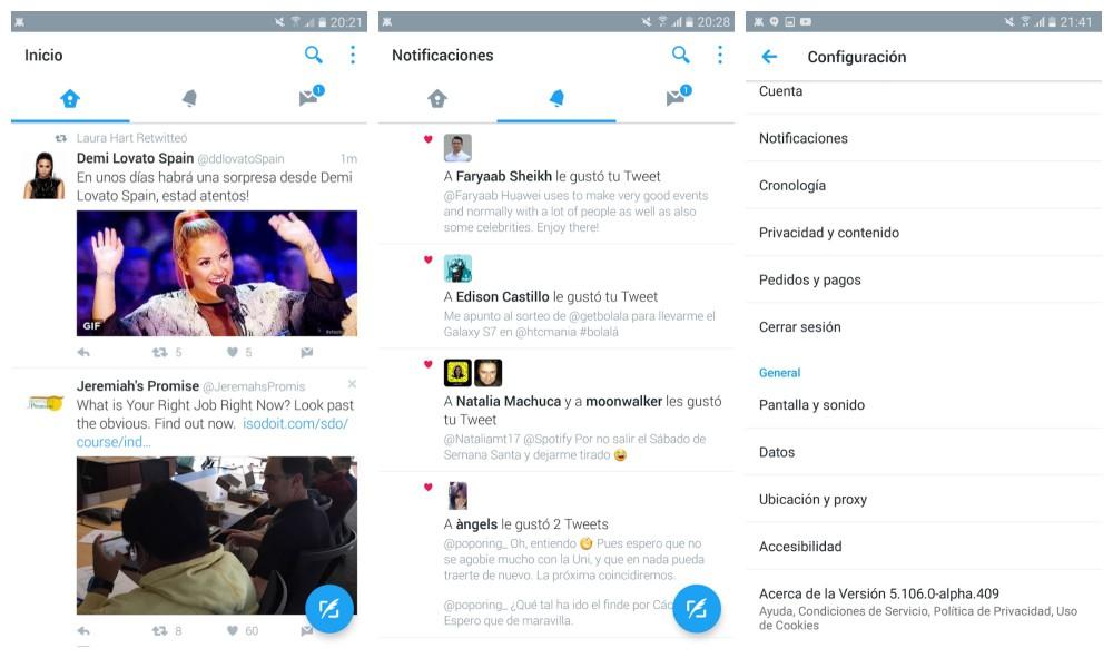 Twitter une interface material design en cours de test for Cours de design