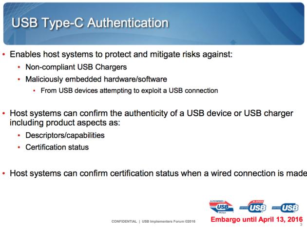 USB Type-C authentification