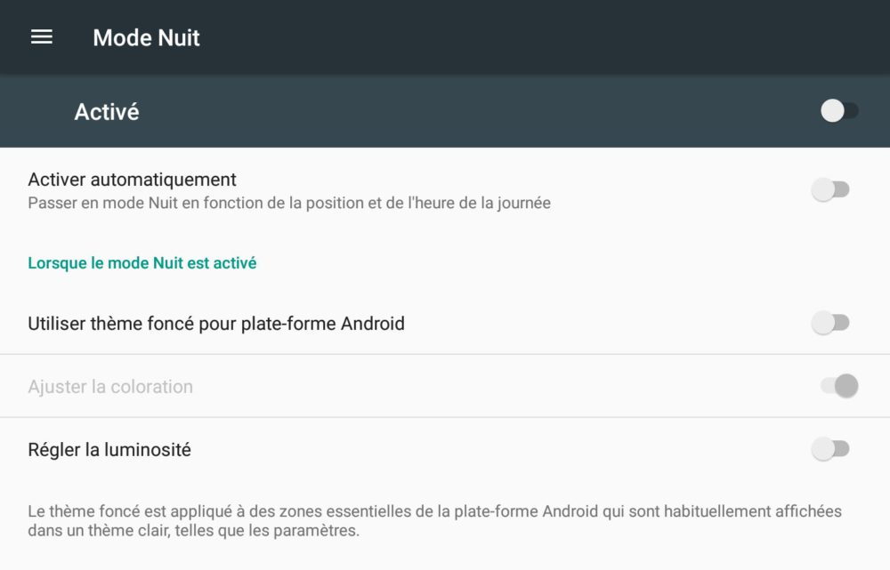 mode nuit android N