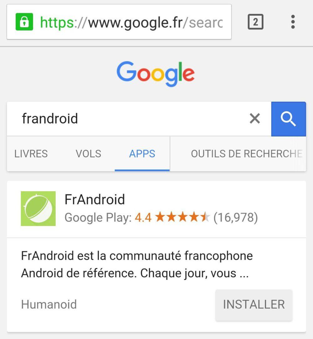 onglet app google