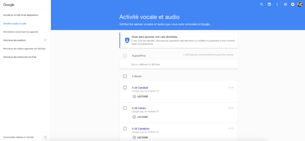Google activité audio