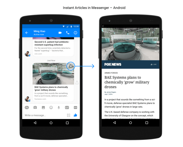 Instant Articles arrive sur Messengers Android