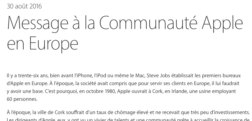 message communaute apple europe