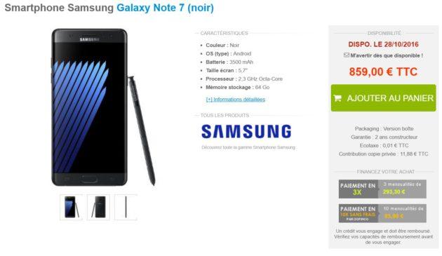 Galaxy Note 7 materiel net