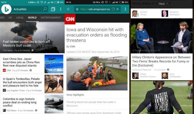 Microsoft Bing app rejoint Google AMP