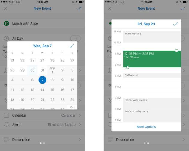 Outlook update sunrise iOS date et heure picker