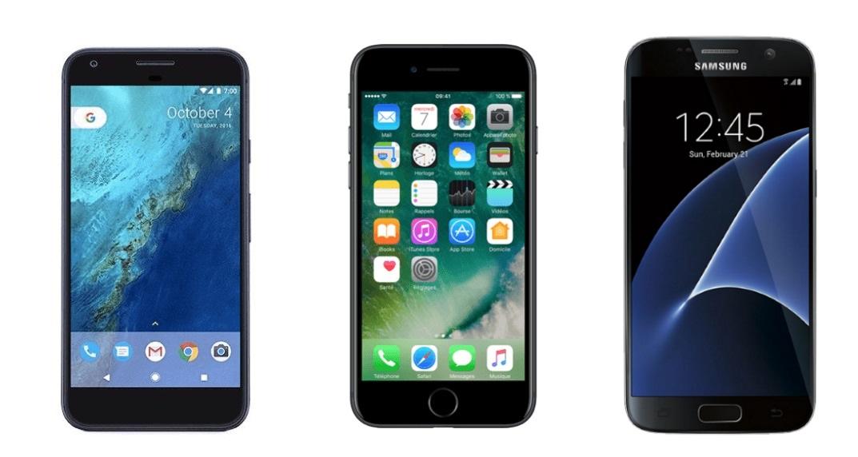 Comparatif   Le Google Pixel face au Samsung Galaxy S7 et à l iPhone ... 85dbf0aead00