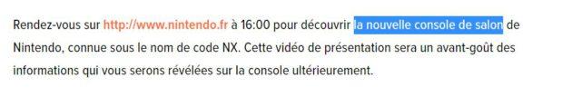Nintendo France parle d'une console de salon