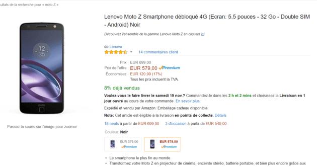 Vente flash le lenovo moto z est 579 euros au lieu de 699 euros frandroid - Vente flash definition ...