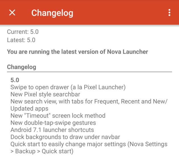 Le changelog de Nova Launcher 5.0