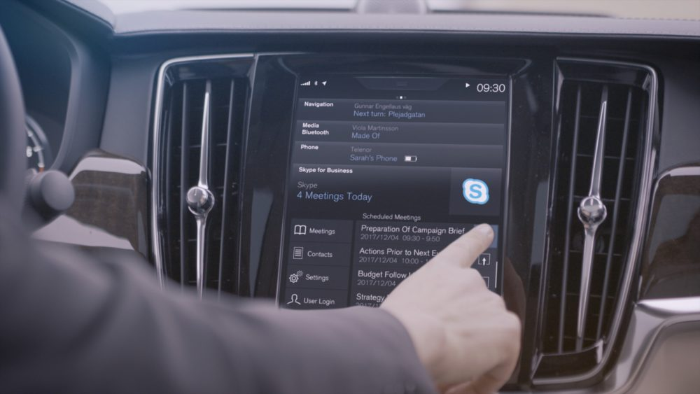 Join Skype for Business meeting in a Volvo car