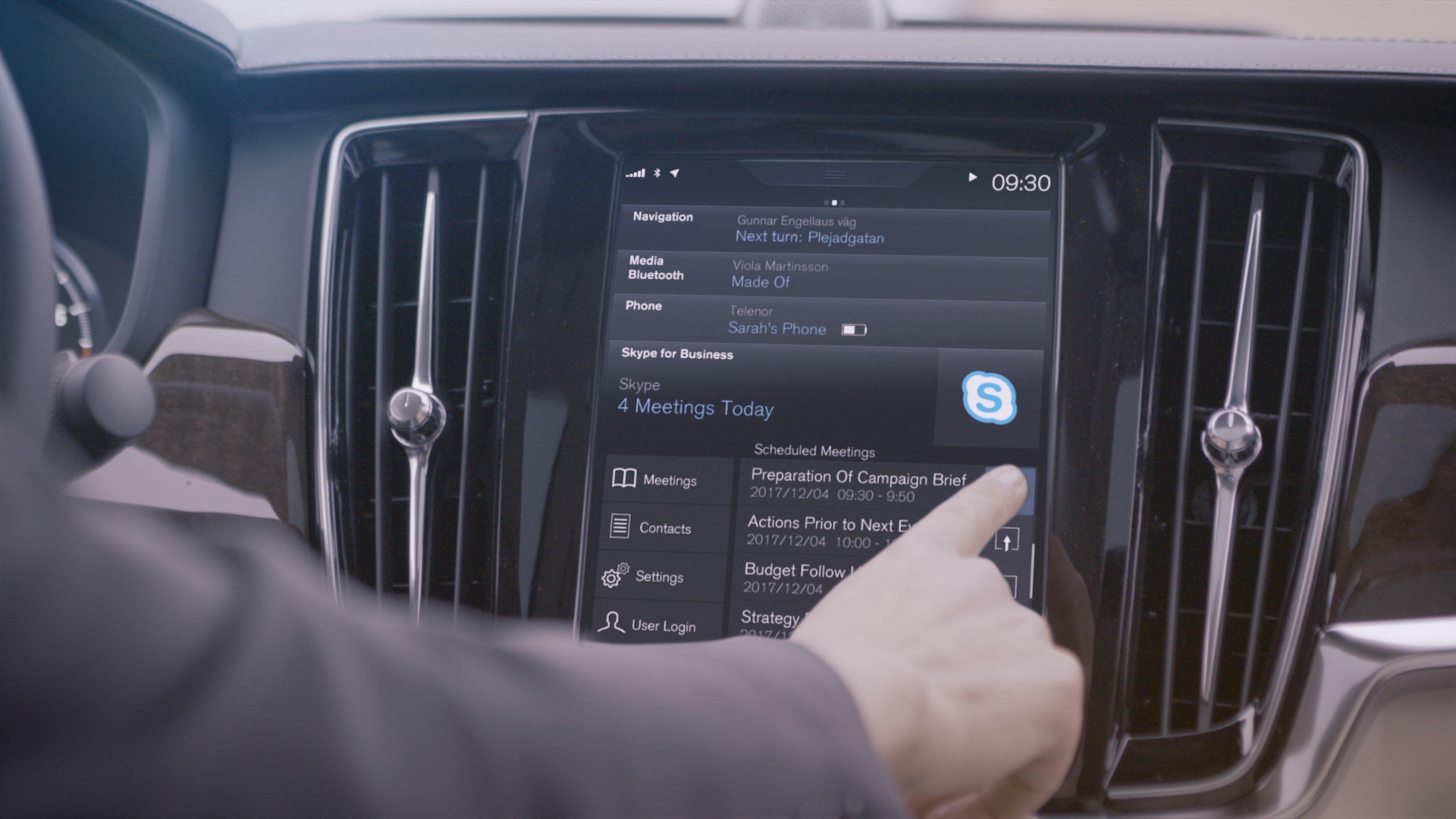 Skype for Business présent dans les Volvo XC90, V90, et S90