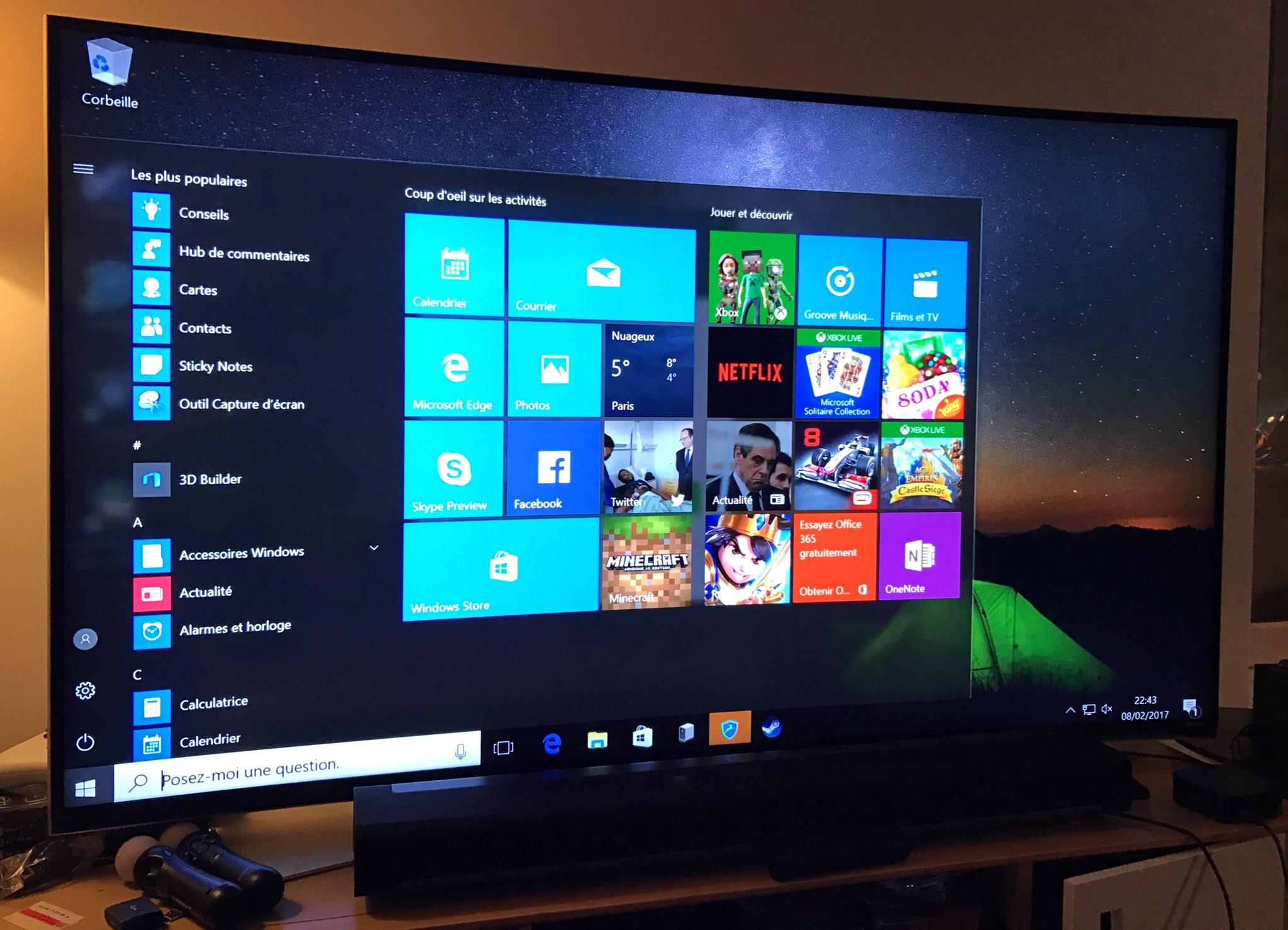 L'interface de Shadow : un PC sous Windows 10