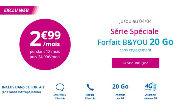 bon plan le forfait 20 go de b you 2 99 euros par mois. Black Bedroom Furniture Sets. Home Design Ideas