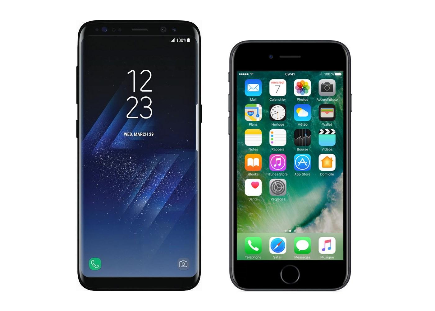 iphone 8 vs samsung s8 fiche technique