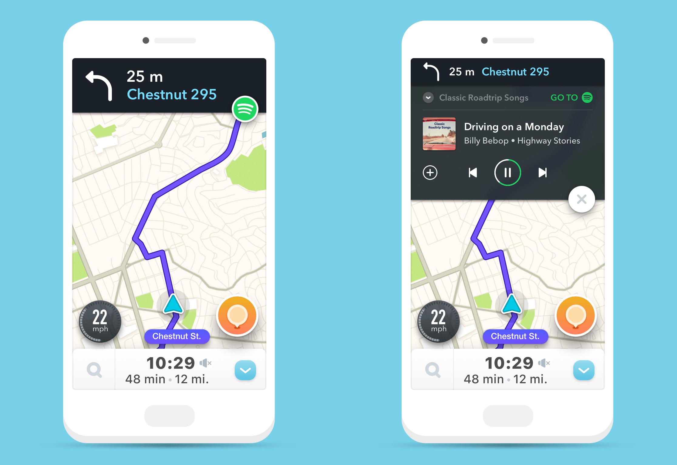 Spotify s'intègre dans Waze, et vice-versa