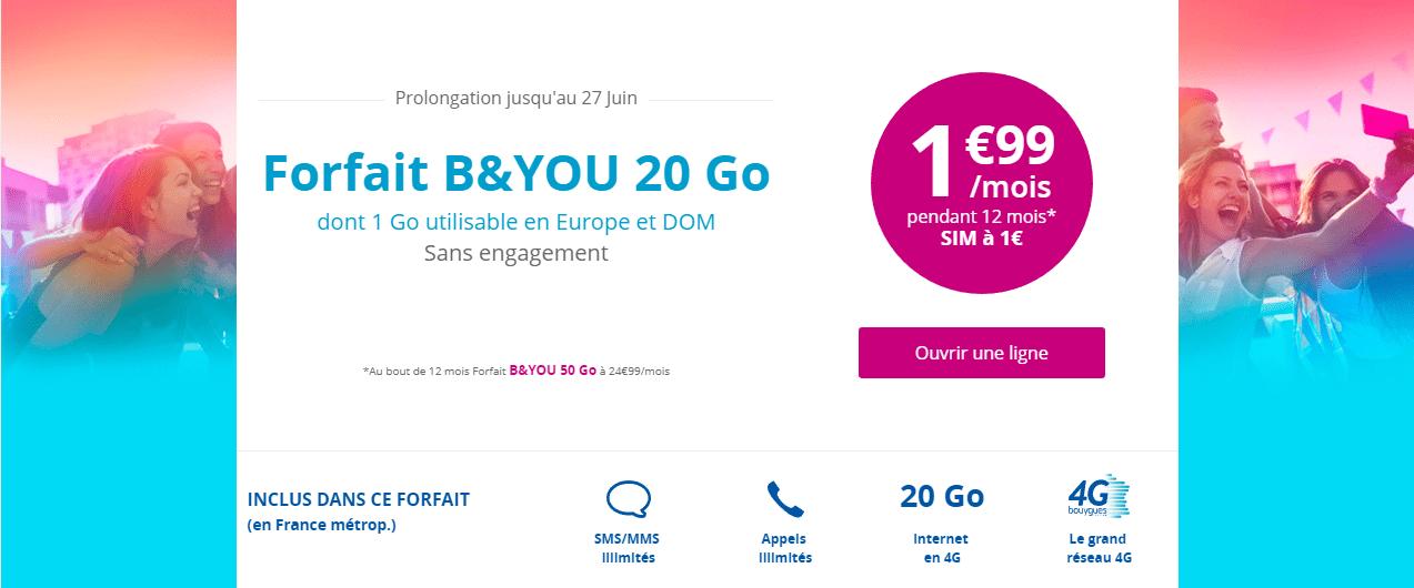 bon plan derniers jours pour l 39 offre b you 20 go 1 99 euro mois pendant 1 an frandroid. Black Bedroom Furniture Sets. Home Design Ideas
