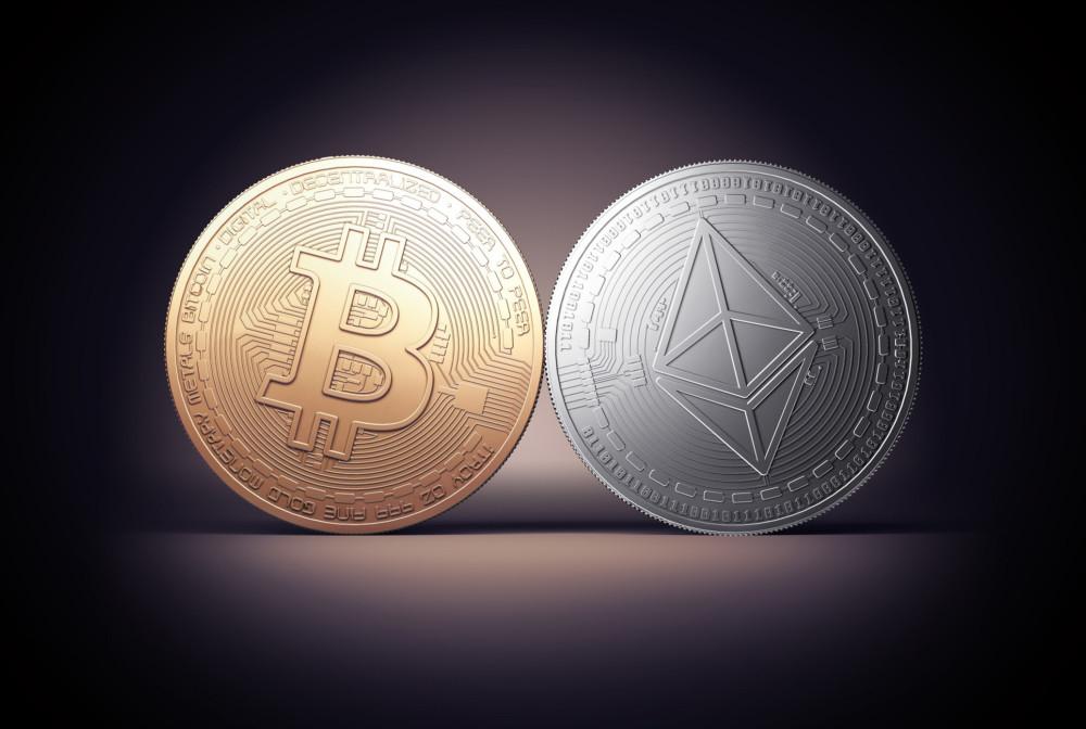 Un bitcoin et un Ethereum