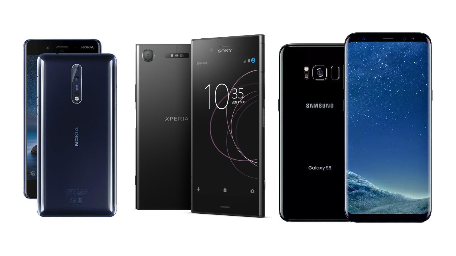 Nokia 8 vs Sony Xperia XZ1 vs Samsung Galaxy S8 : le bon