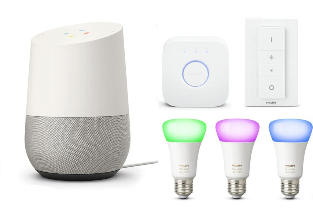 bon plan plusieurs packs complets google home avec ampoules philips hue et chromecast 2. Black Bedroom Furniture Sets. Home Design Ideas