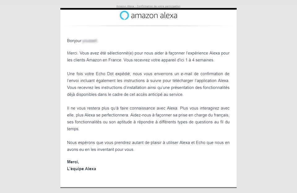 3547efafd5faad Amazon indique dans son message que notre contributeur va recevoir un Echo  Dot et qu il est invité à télécharger l application Alexa.