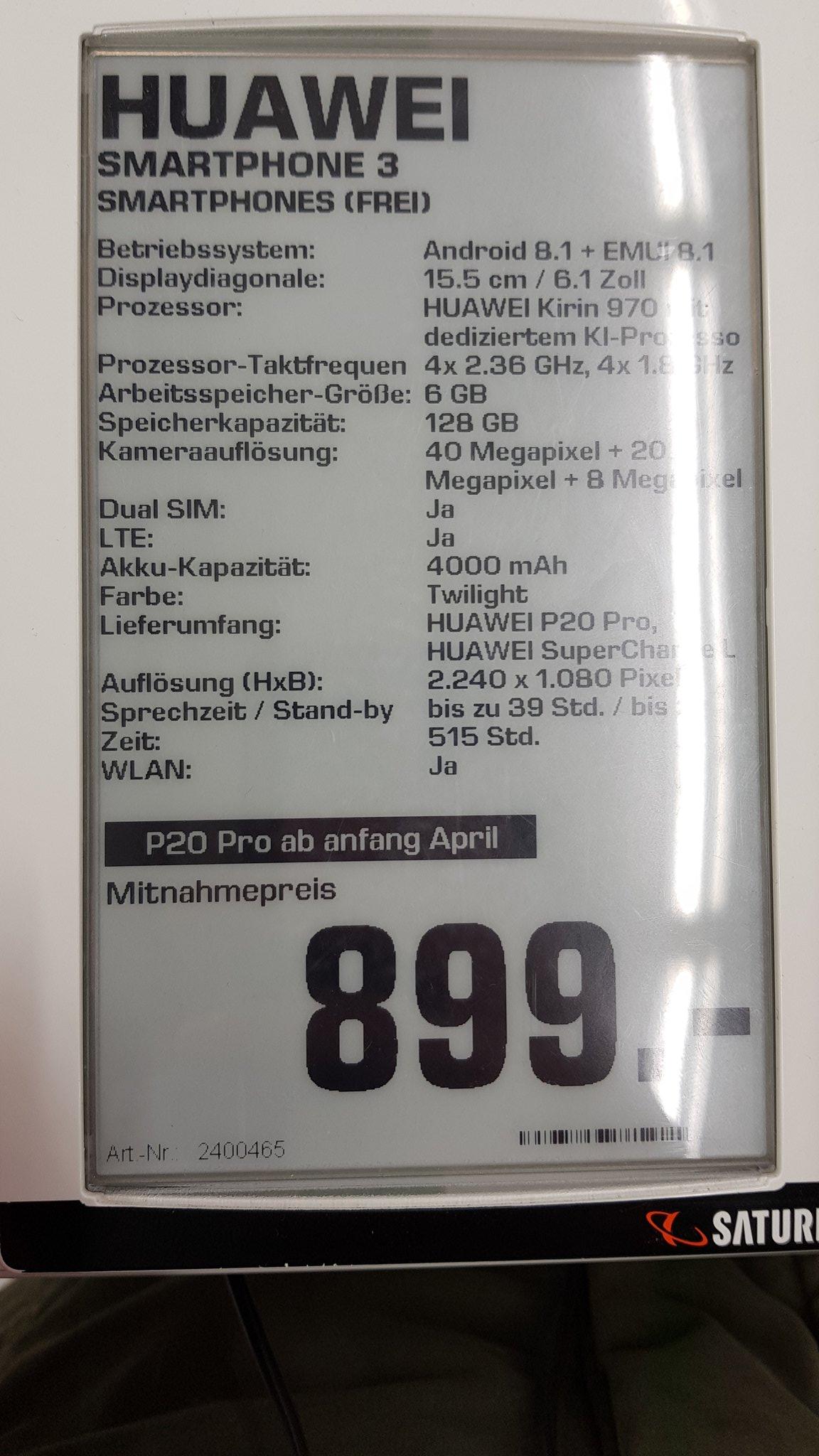 huawei p20 et p20 pro un commer ant allemand confirme le prix et une sortie proche frandroid. Black Bedroom Furniture Sets. Home Design Ideas