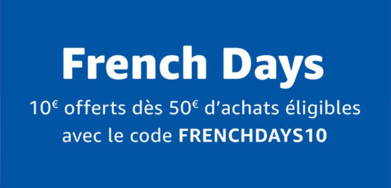 french days 10 euros offerts sur amazon partir de 50 euros d 39 achat avec ce code promo. Black Bedroom Furniture Sets. Home Design Ideas