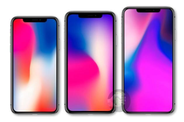 Trois rendus d'iPhone vus de face et arborant le même design que l'iPhone X